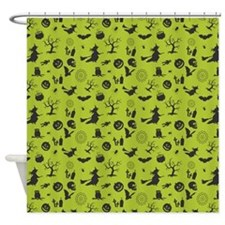 Halloween Them With Green Background Shower Curtai