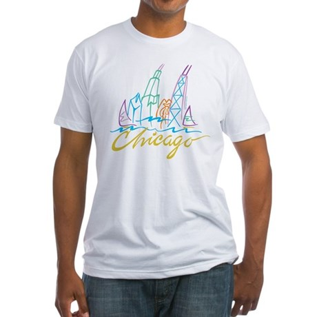 Chicago Stylized Skyline Fitted T-Shirt