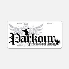 Fitness is our armor black Aluminum License Plate