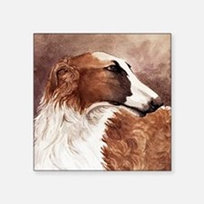 "Borzoi Head Square Sticker 3"" x 3"""