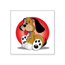 "Autism-Dog-blk Square Sticker 3"" x 3"""