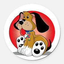 Autism-Dog-blk Round Car Magnet