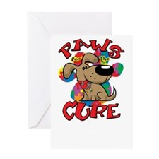 Paws-for-the-Cure-Autism-blk Greeting Card