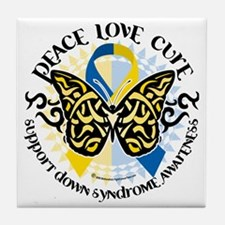 Down-Syndrome-Butterfly-Tribal-2 Tile Coaster