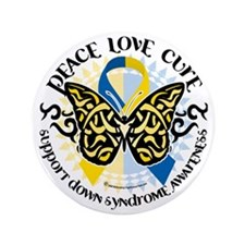 """Down-Syndrome-Butterfly-Tribal-2 3.5"""" Button"""