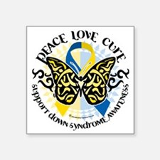 """Down-Syndrome-Butterfly-Tri Square Sticker 3"""" x 3"""""""