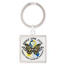 Down-Syndrome-Butterfly-Tribal-2 Square Keychain