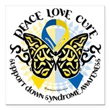 """Down-Syndrome-Butterfly- Square Car Magnet 3"""" x 3"""""""