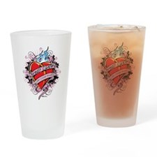Breast-Cancer-Tattoo-Heart Drinking Glass