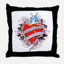 Breast-Cancer-Tattoo-Heart Throw Pillow