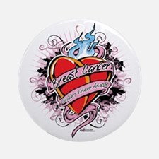 Breast-Cancer-Tattoo-Heart Round Ornament