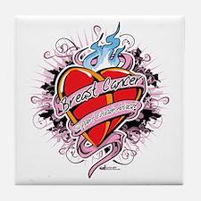 Breast-Cancer-Tattoo-Heart Tile Coaster