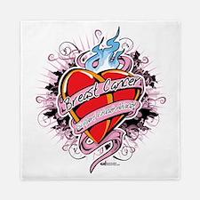 Breast-Cancer-Tattoo-Heart Queen Duvet