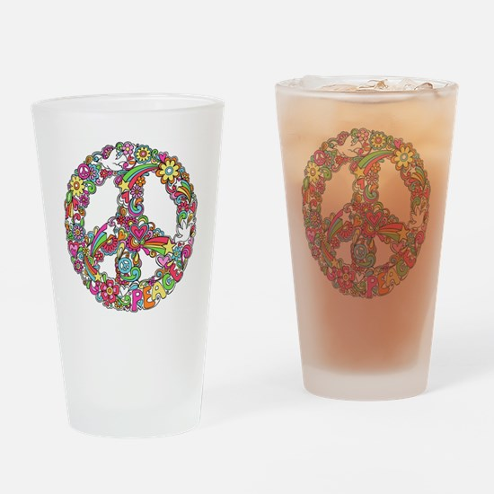 Peace & Love Drinking Glass