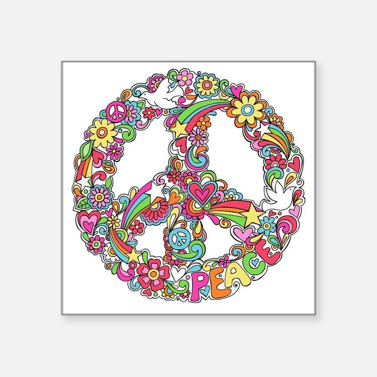 """Peace & Love Square Sticker 3"""" x 3"""""""