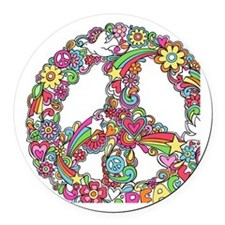 Peace & Love Round Car Magnet