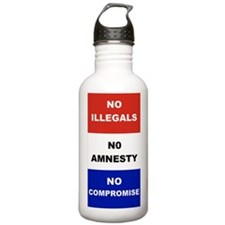 2-NO ILLEGALS NO AMNES Water Bottle
