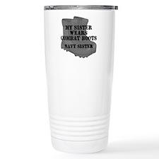 Navy Sister Combat Boots Travel Mug