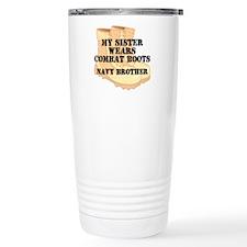 Navy Brother Sister Desert Combat Boots Travel Mug
