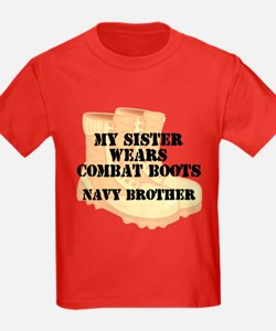 Navy Brother Sister Desert Combat Boots T-Shirt