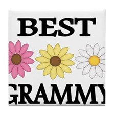 BEST GRAMMY WITH FLOWERS Tile Coaster