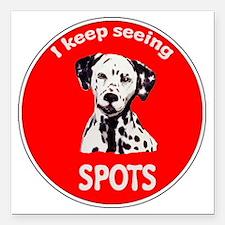 """Dalmatian Spots Square Car Magnet 3"""" x 3"""""""