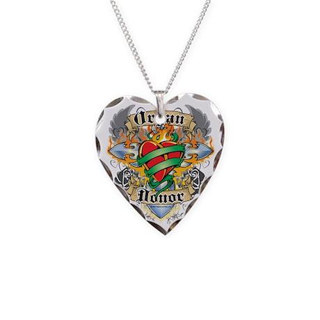 Organ-Donor-Cross--Heart-blk Necklace Heart Charm