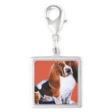 Basset Hound by Dawn Secord Silver Square Charm