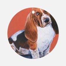 Basset Hound by Dawn Secord Round Ornament
