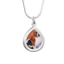 Basset Hound by Dawn Sec Silver Teardrop Necklace