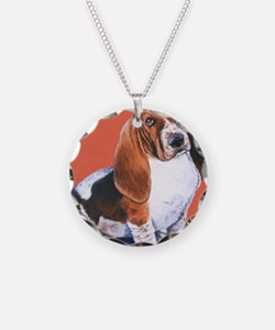 Basset Hound by Dawn Secord Necklace