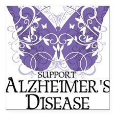 """Alzheimers-Butterfly Square Car Magnet 3"""" x 3"""""""