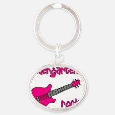 kindergartenrocks_pink Oval Keychain