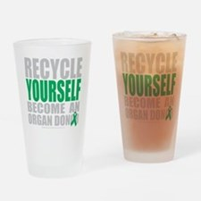 Recycle-Yourself-Organ-Donor-blk Drinking Glass