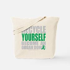 Recycle-Yourself-Organ-Donor-blk Tote Bag
