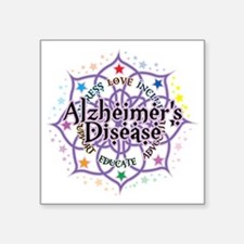 "Alzheimers-Lotus Square Sticker 3"" x 3"""