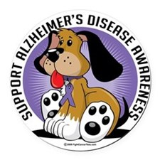 Alzheimers-Dog Round Car Magnet