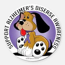 Alzheimers-Dog Round Car Magnet