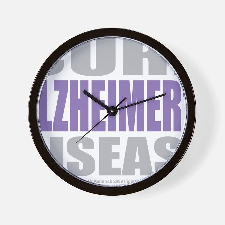 Cure-Alzheimers-2009-blk Wall Clock