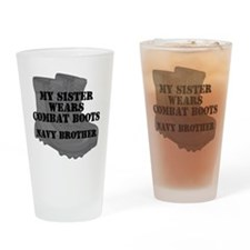 Navy Brother Sister Combat Boots Drinking Glass