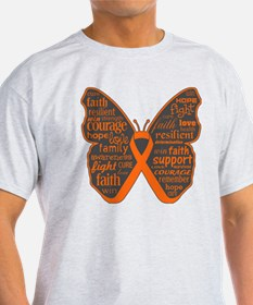 Butterfly Kidney Cancer Ribbon T-Shirt