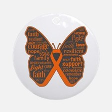 Butterfly Kidney Cancer Ribbon Ornament (Round)