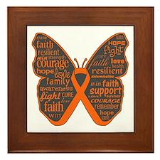 Butterfly Kidney Cancer Ribbon Framed Tile