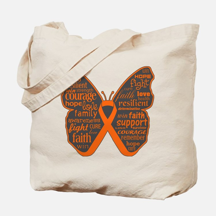 Butterfly Kidney Cancer Ribbon Tote Bag