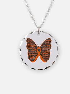 Butterfly Kidney Cancer Ribbon Necklace