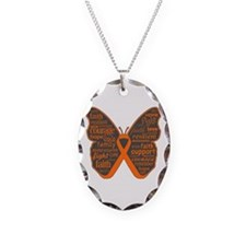 Butterfly Kidney Cancer Ribbon Necklace