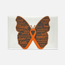 Butterfly Kidney Cancer Ribbon Rectangle Magnet