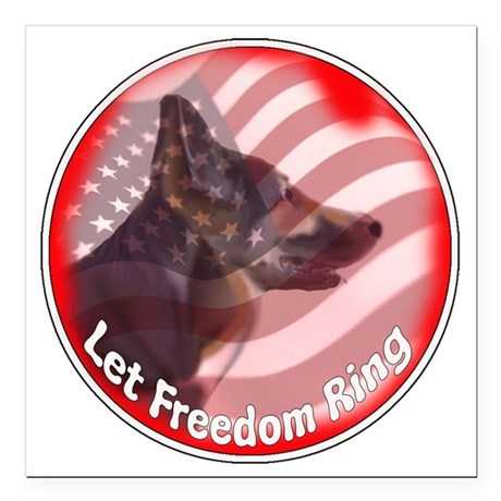 """GSD freedom ring Square Car Magnet 3"""" x 3"""""""