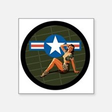 "Air Force Pinup Girl Square Sticker 3"" x 3"""