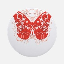 AIDS-HIV-Butterfly-blk Round Ornament